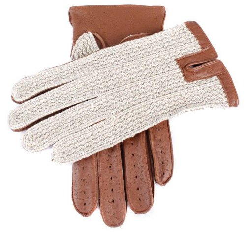 Dents Mens Cotton Crochet Back Driving Gloves - Cognac - Extra Large