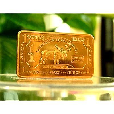 1 oz One Troy Ounce USA Moose .999 Pure Copper Bullion Bar Ingot Cu Element: Toys & Games