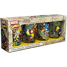 Zak Designs MRTI-4241 Marvel Comics Retro Glass Tumbler (Set of 4), 16 oz, Multicolor