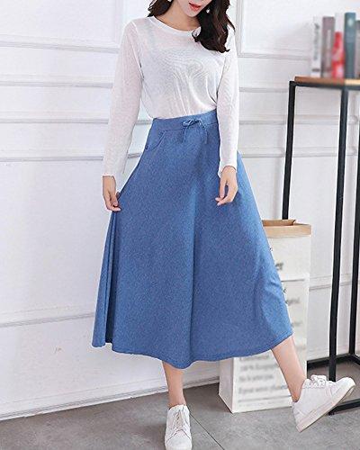 Bleu Elastique Femmes Jupe Haute Pliss Midi vase Casual Fluide Jupe Line Maxi en Taille A Basique ZqATZwv