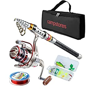 Rod and Reel Combos Carbon Fiber Telescopic Fishing Rod with Reel Combo Sea Saltwater Freshwater Kit Fishing Rod Kit (2.4M7.87Ft)