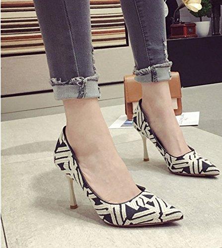 Ajunr Sugerencia 9cm los zapatos de tacón alto solo zapatos de moda zapatos de mujer sexy beige Retro 39 Ocasional elegante,Transpirable,Sandalias Mujer 35