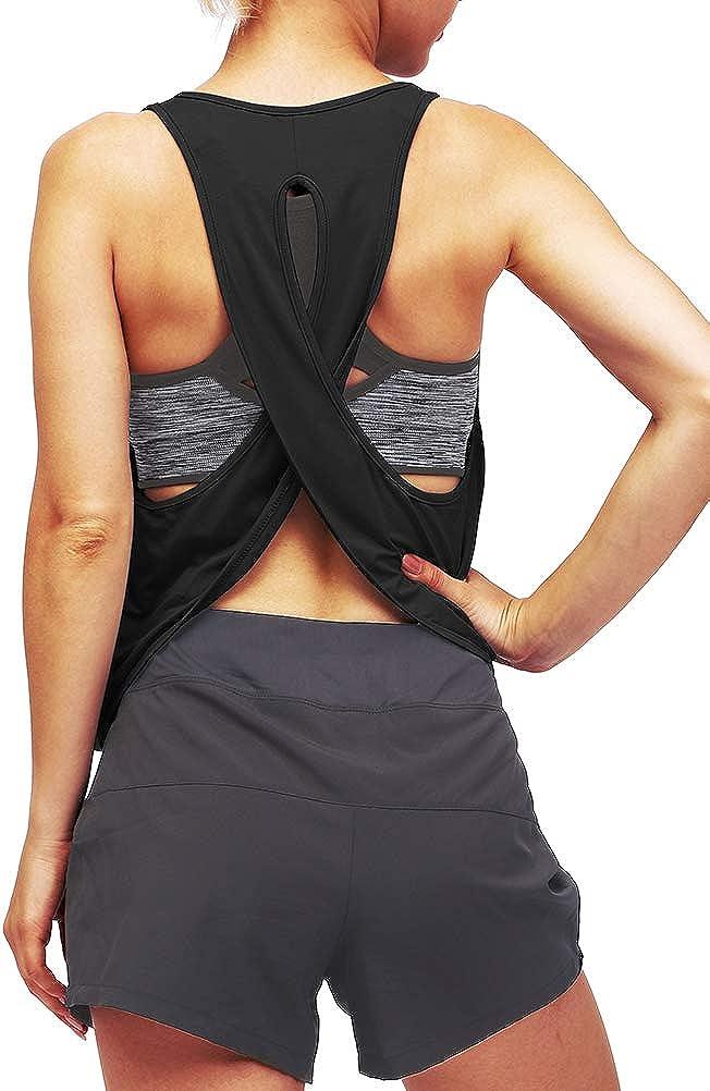 Mippo Women's Open Back Workout Tops Flowy Loose Sport Running Tank Tops Shirts