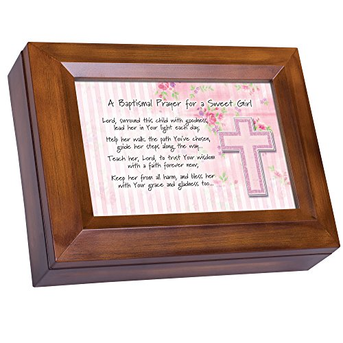 (Cottage Garden Baptismal Prayer for a Sweet Girl Wood Finish Jewelry Music Box - Plays Tune You are My Sunshine)