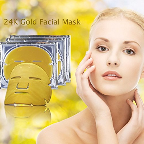 - Violet Flames PACK OF 3 24k Gold Facial Mask - Anti-Wrinkle Skin Whitening and Moisturizing Pore Minimizing Treatment - Bio-collagen Crystal Facial Mask For Anti Aging Skin Rejuvenation and Repair