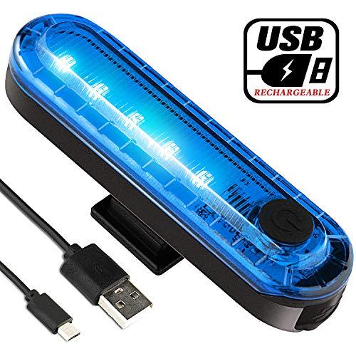 Luz trasera de bicicleta trasera, luces traseras de bicicleta volcánicas recargables USB ultra brillantes, accesorios LED azules de alta intensidad para cualquier bicicleta de carretera, cascos. Fácil de instalar para linterna de seguridad para ciclismo