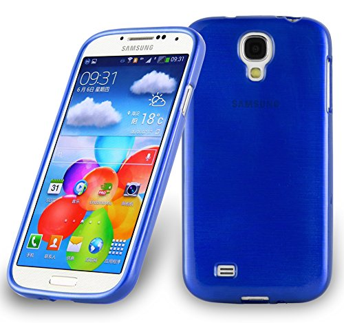 (Cadorabo Case works with Samsung Galaxy S4 Ultra Slim TPU Silicone Cover in BLUE (Design BRUSHED) – Shockproof Scratch Resistant Gel Case Protective Shell Bumper Skin Back Cover)