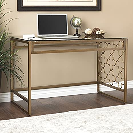 "I Love Living Quatrefoil Goldtone Metal And Glass Writing Desk (31.5"" High X 47.75\"" Wide X 24.88\"" Deep) by I Love Living"