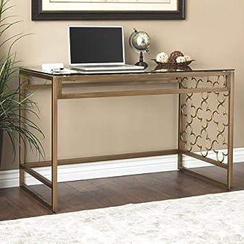 I Love Living Quatrefoil Goldtone Metal and Glass Writing Desk 31.5 high x 47.75 Wide x 24.88 deep
