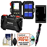 Vivitar Memory Card Hard Protector Case - Holds 4 CF, 8 SD & 12 MicroSD with Card Reader + Cleaning Kit