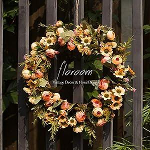 """Floral Wreath, Door Wreath, Artificial Orange Fall Wreath for Front Door 15"""", Wall Decor"""