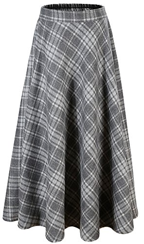 laid A-Line Winter Wool Blend Midi Long Skirt,Dark Grey Plaid,US M/Tag 2XL (Waist 32.6