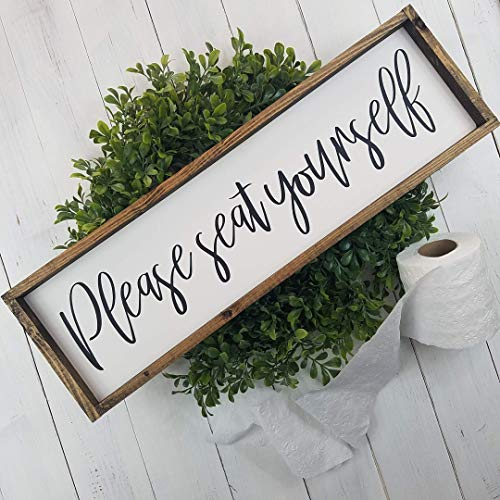 Please Seat Yourself Farmhouse Bathroom Decor Wood Sign ()