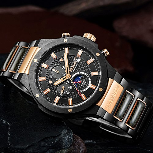 Men's Military Multifunction Automatic Mechanical Analog Stainless Steel Black Sports Luminous Watch (Rose Gold-Black) by NESUN (Image #4)