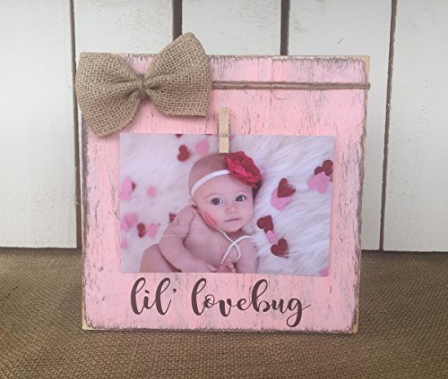 (Valentine Gift, Valentine Picture Frame, LIL' LOVEBUG, Rustic Picture Frame Vintage Shabby Chic Picture Frame, FREE SHIPPING)