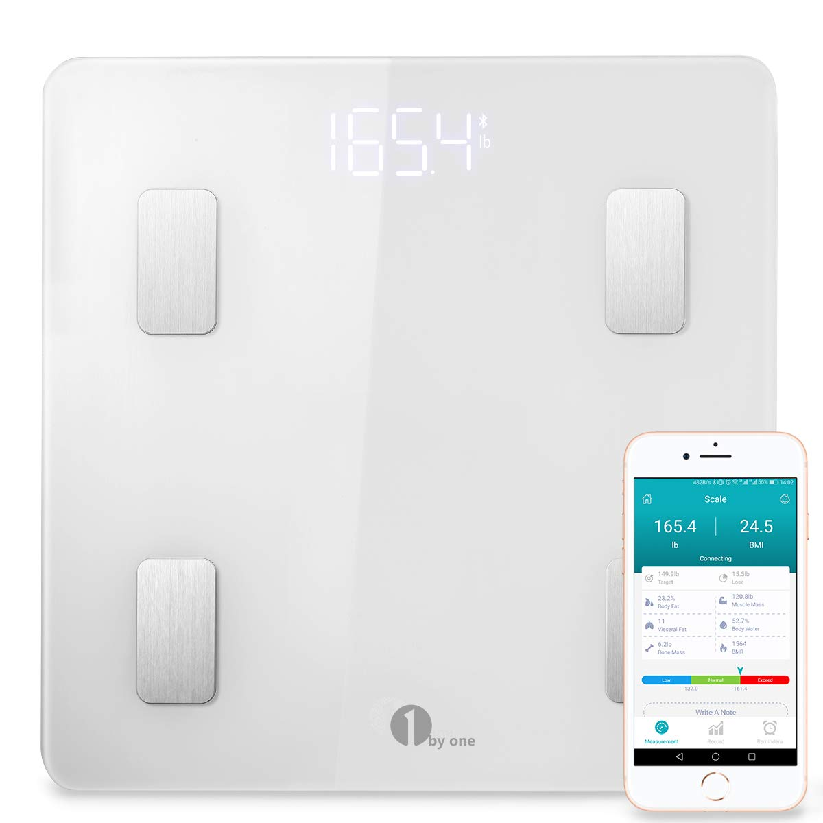 1 BY ONE Bluetooth Smart Body Fat Scale con iOS e Android App, Bianco, 35405 1byone Product Inc.