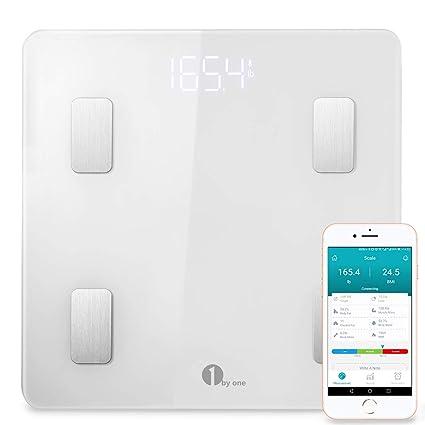 1 BY ONE - Báscula Corporal Digital Bluetooth para administrar el peso corporal, grasa corporal