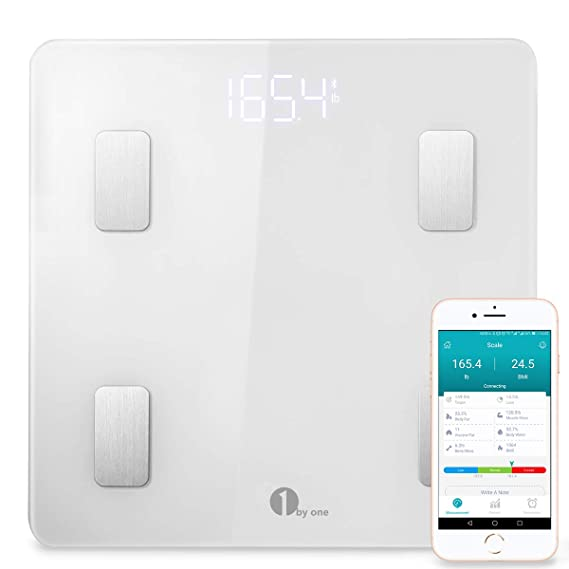 1 BY ONE 1 por uno Bluetooth Smart Body Fat Escala con iOS y Android App, Color Blanco, 35405: Amazon.es: Hogar