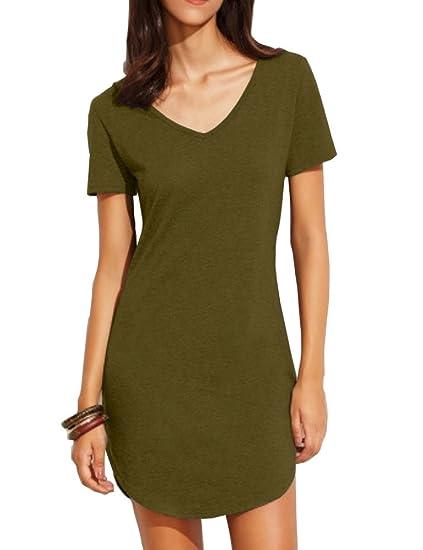 Haola Women S Summer Short Sleee Slim Fit Shirts Mini Dresses