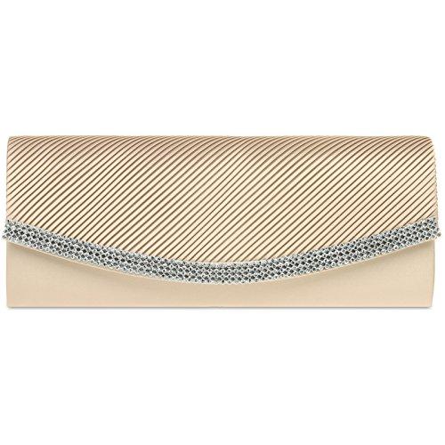 CASPAR Fashion - Cartera de mano con asa para mujer - beige