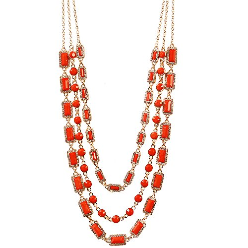 Jane Stone Collier Sautoir Fantaisie Chaine Multi Rangs Camee Rectangle Femme Bijoux Tendance Couleur Orange