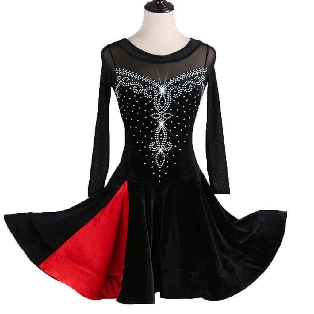 女性ラテンダンスベルベットラインストーン長袖ドレスパフォーマンス弾性スカート B07QZRSHLL ブラック L l