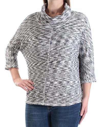 Rachel Roy $69 Womens New 1029 White Gray Jewel Neck 3/4 Sleeve Sweater M ()