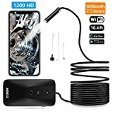 #6: ABOX Wireless Endoscope, WiFi Borescope Inspection Camera, Car Snake Camera (2.0 Megapixels 1200P HD Waterproof Semi-Rigid 8 Adjustable LEDs) for Android & iOS Smartphone iPhone Tablet-0.35⌀ & 16.4FT
