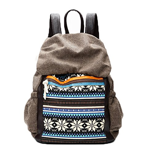 FTSUCQ Womens/Mens Canvas Snowflake Printing Backpack Travel Daypack Tote School Shoulder Bags - Equipment Uk Triathlon