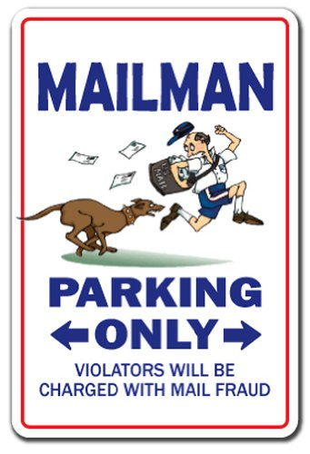 SignMission Mailman Sign | Indoor/Outdoor | Funny Home Décor for Garages, Living Rooms, Bedroom, Offices Parking Mail Letter Carrier Postal Gift Usps Post Office Stamps Sign Wall Plaque Decoration