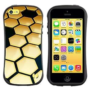 """Hypernova Slim Fit Dual Barniz Protector Caso Case Funda Para Apple iPhone 5C [Colmena de Oro Negro Hexágono 3D""""]"""
