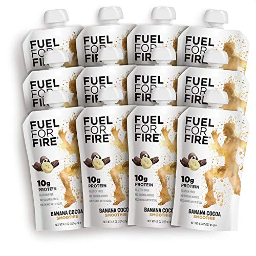 Fuel For Fire - Banana Cocoa (12 Pack) Fruit & Protein Smoothie Squeeze Pouch   Perfect for Workouts, Kids, Snacking - Gluten-Free, Soy-Free, Kosher (4.5 ounce pouches)