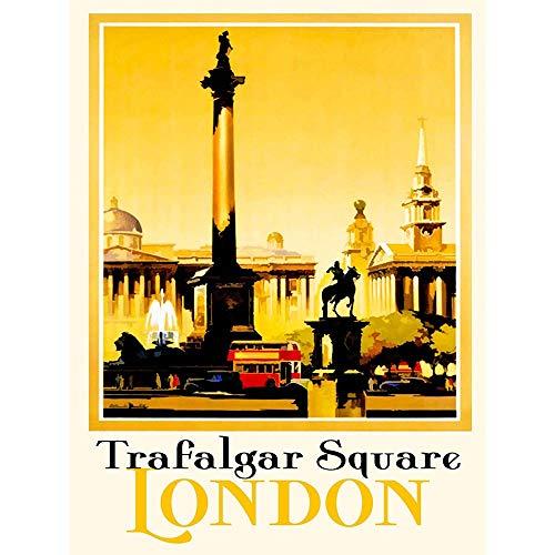Cms Columns - Wee Blue Coo Tourism London England Trafalgar Square Nelsons Column Unframed Wall Art Print Poster Home Decor Premium