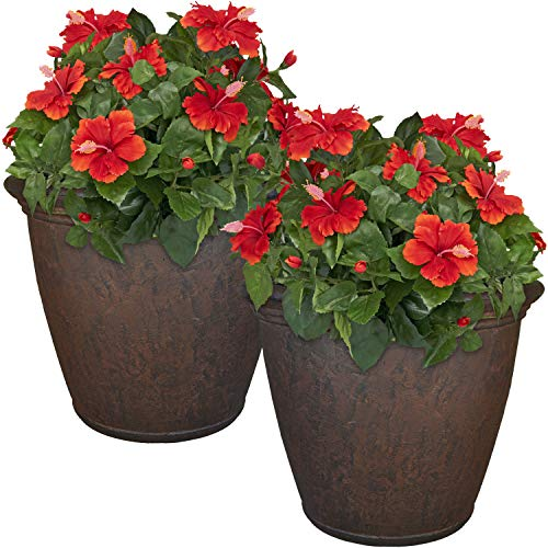 Sunnydaze Anjelica Flower Pot Planter, Outdoor/Indoor Unbreakable Double-Walled Polyresin with UV-Resistant Rust Finish, Set of 2, Large 24-Inch Diameter