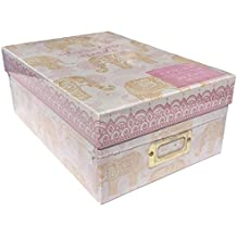Tri Coastal Design Photo Memory Storage Shoe Box, Pink Henna Elephant    Adventure Awaits