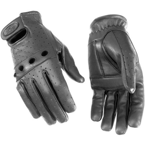 River Road Sturgis Men's Leather Touring Motorcycle Gloves - Black / X-Large