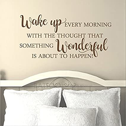 Battoo Wake Up Every Morning Decal Housewares Wall Decor Inspirational Vinyl Lettering Quote Decals Home Decor Bedroom Decor Wall