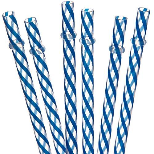 Dakoufish 12 Piece 9 Inch Reusable Plastic Thick Drinking Straws BPA Free Mason Jar Straws transparent small Stripe 6 Colors (9inch, blue)