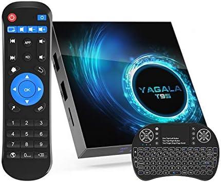 Android TV Box 10.0, T95 Quad-core 64 Bits 4GB RAM 32GB ROM 6K 3D 2.4/5.0GHz Dual WiFi BT5.0 Ethernet DLNA HDMI H.265 Smart TV Box with Mini Keyboard [2020 New]