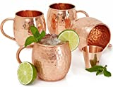 Set of 4 Moscow Mule Copper Mugs with Copper Shot Glass - Four 16 Oz Copper Moscow Mule Mugs - Solid Copper Hammered Mug - Copper Cups for Moscow Mules Luxury Handicrafts