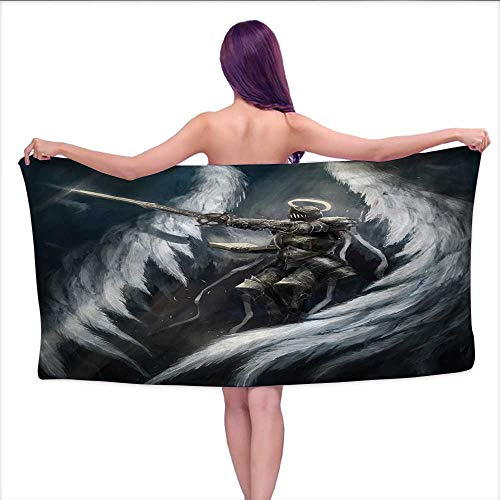 (duommhome Fantasy Premium Cotton Extra Large Bath Towel Set Angel Knight with Majestic Wings Spiritual Superior Power Imagination Art Print Bathroom Hand Towels Set W 28