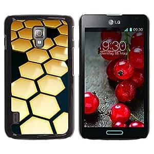 TopCaseStore / la caja del caucho duro de la cubierta de protección de la piel - Hive Gold Black 3D Hexagon - LG Optimus L7 II P710 / L7X P714