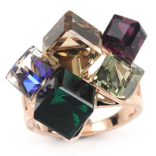FC JORY Rose Gold Plated Faux Square Gem Multi- Color Cocktail Ring (8.5)