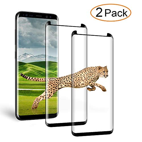 Loopilops Samsung Galaxy S8 Plus [2 Pack] Screen Protector 3D Curved Tempered [Anti-Bubble][9H Hardness][HD Clear][Anti-Scratch][Case Friendly] Glass Screen Film for Samsung Galaxy S8 Plus Black