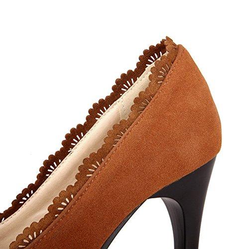 Marron massif sur Chaussures marron tirer talons Femme Pompes balamasa xSgw74