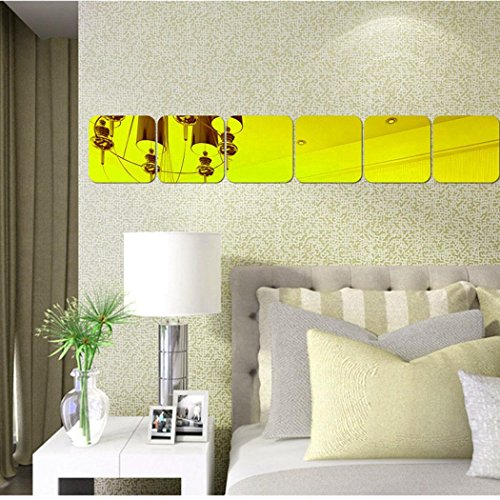 Youcoco Modern Style Decorative Square Mirror Stereo Wall Sticker Bedroom Home Decor by Youcoco (Image #1)