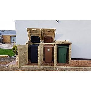 Three Wheelie Bin Storage Wooden