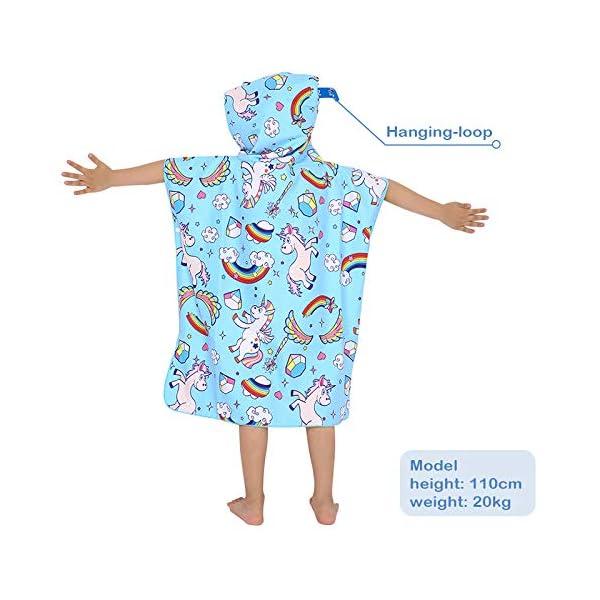 Poncho con Cappuccio Bagno per Bambini Asciugamani con Asciugamano da Bagno Asciugamano da Spiaggia Microfibra… 3 spesavip