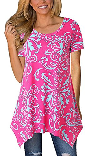 (Summer Tops for Women Tunics Tshirt Floral Short Sleeve Casual Irregular Hem Asymmetrical Rose Red Large)
