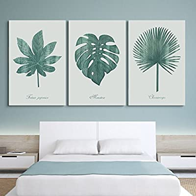 3 Panel Retro Style Large Green Tropical Leaves...24